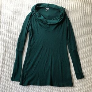 Splendid Thermal Cowl Neck Top Forest Green Medium